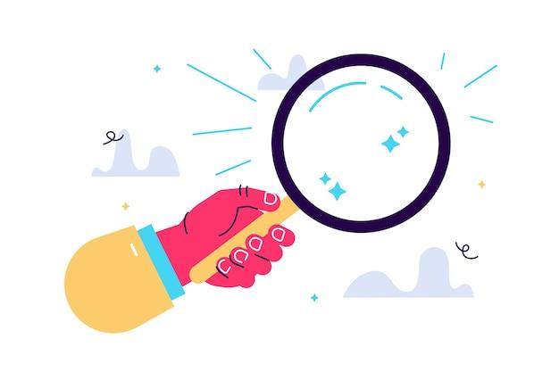 Illustrazione della mano che tiene una lente d'ingrandimento Vettore Premium
