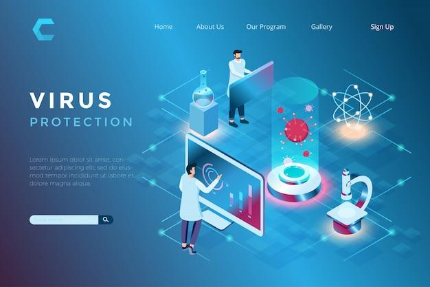 Illustrazione della gestione dei virus in laboratorio, prevenzione della diffusione di virus, ricerca sullo sviluppo della tecnologia sanitaria in stile isometrico 3d Vettore Premium