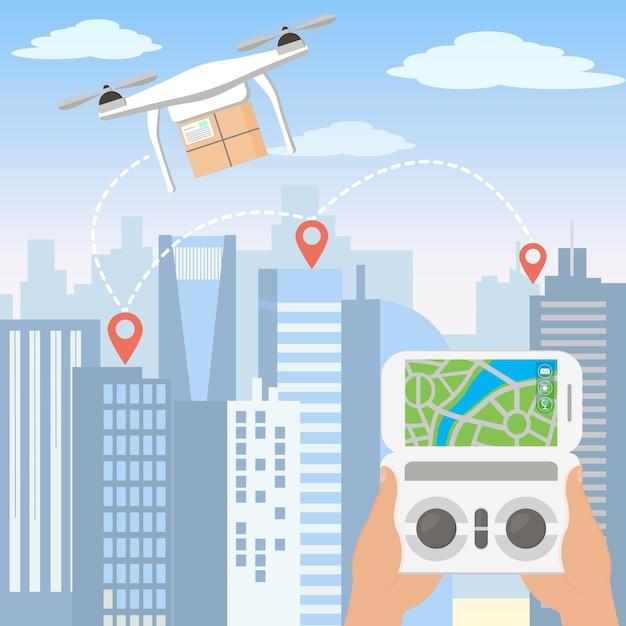 Illustrazione delle mani che lanciano il drone di consegna con il pacchetto tramite smartphone di fronte allo skyline di una grande città moderna con grattacieli in stile cartone animato piatto. Vettore Premium