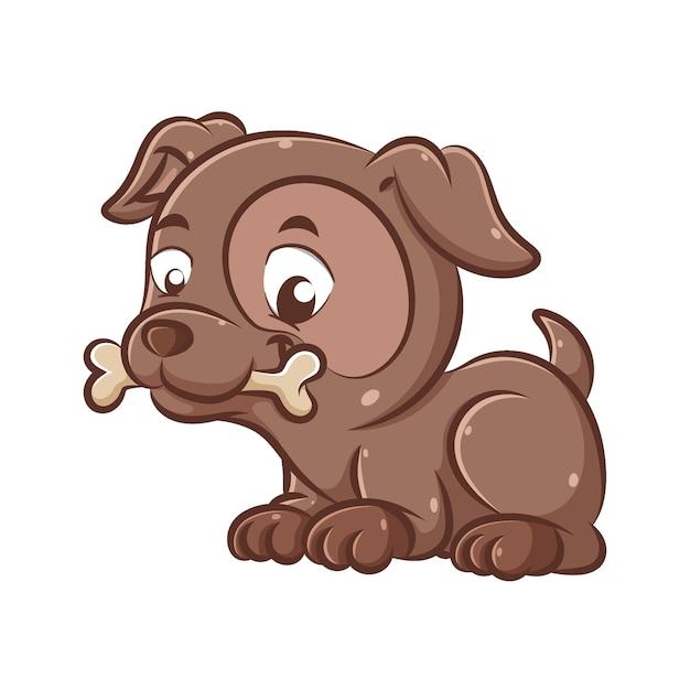 L'illustrazione del bel cane marrone scuro è seduto e morde le ossa per giocare insieme Vettore Premium
