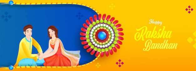 Illustrazione della ragazza di felicità che lega rakhi (polsino) sul polso di suo fratello per la celebrazione felice di raksha bandhan. Vettore Premium