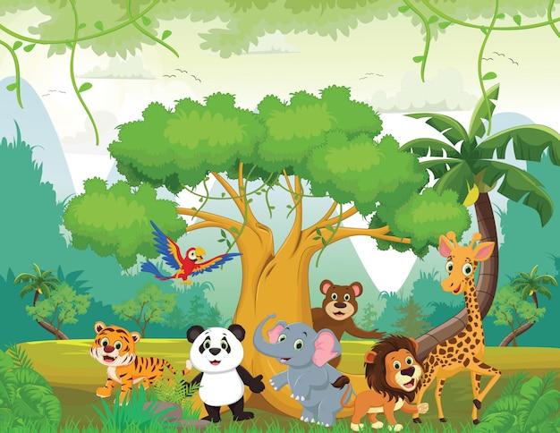 Illustrazione di animali felici nella giungla Vettore Premium