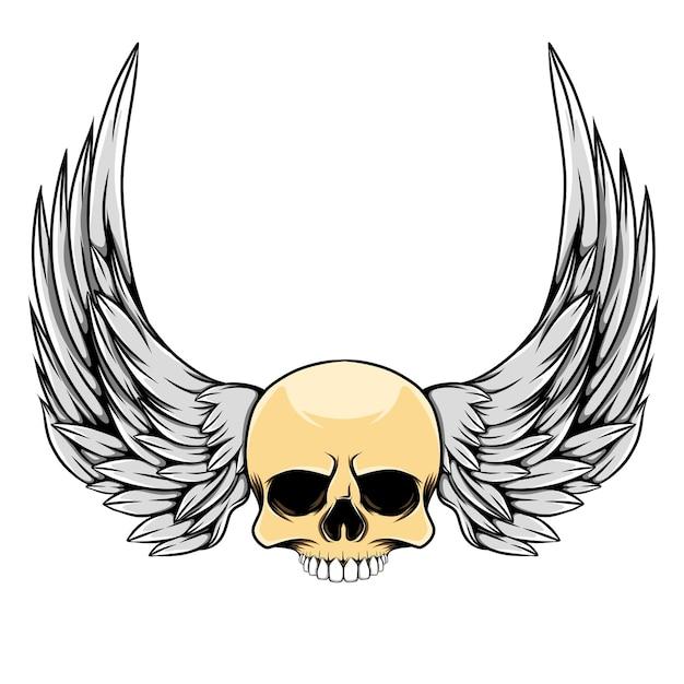 Illustrazione del cranio testa con ali lunghe Vettore Premium
