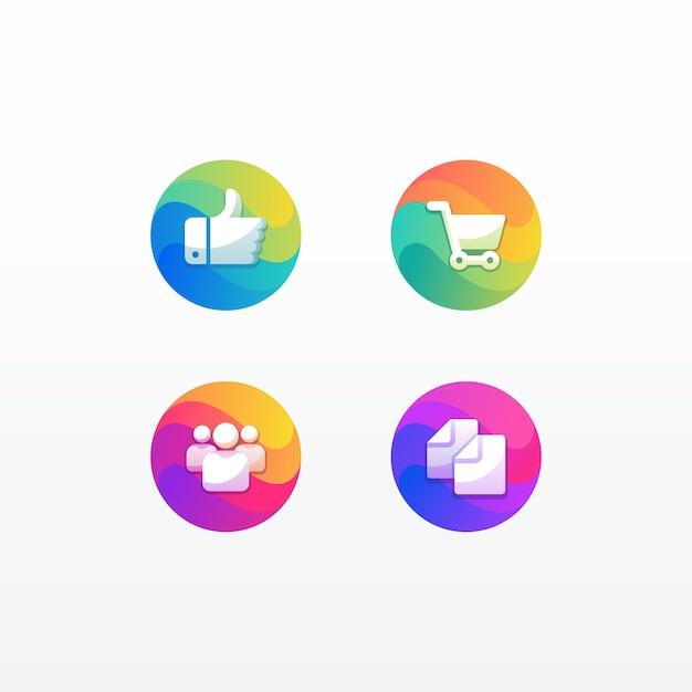 La gente e documento del grafico del pollice di commercio elettronico di web del pacchetto dell'icona dell'illustrazione con stile variopinto Vettore Premium