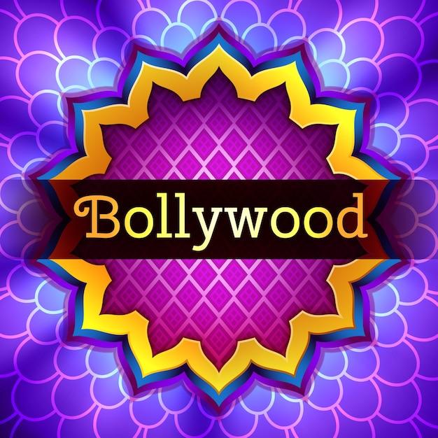 Illustrazione del logo del cinema bollywood indiano illuminato con cornice di ornamento di loto dorato su sfondo illuminato viola Vettore Premium