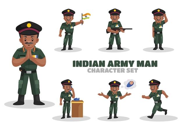 Illustrazione di indian army man character set Vettore Premium