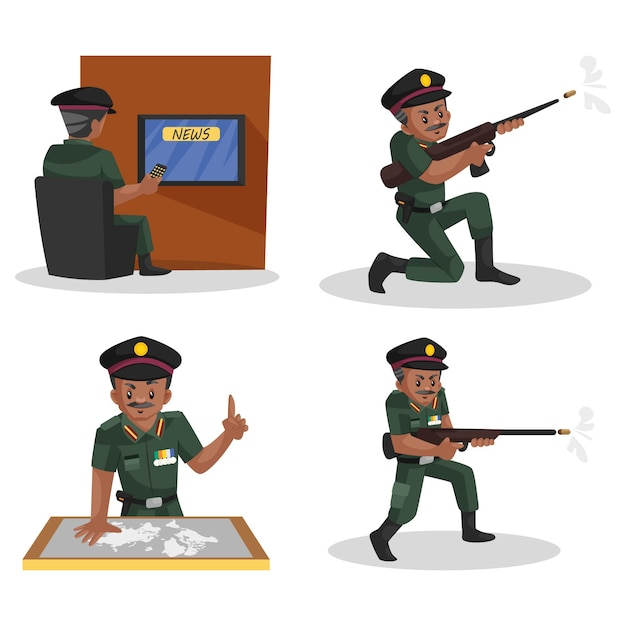 Illustrazione di indian army man character set Vettore Premium