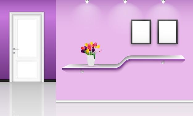 Illustrazione di interior design con sfondo viola muro Vettore Premium