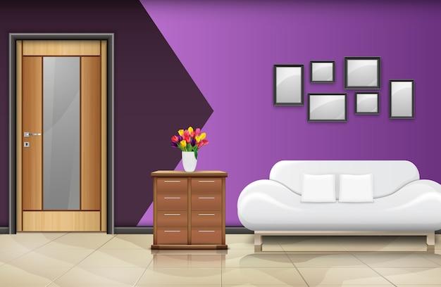 Illustrazione di interior design con porta in legno Vettore Premium