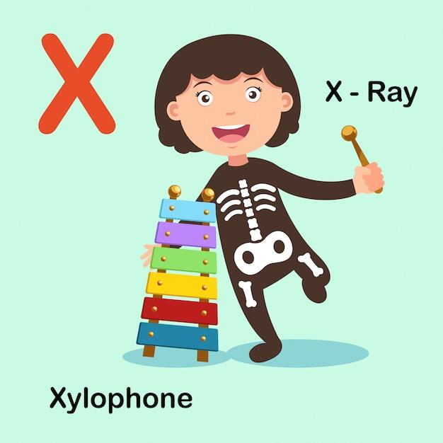 Xilofono del raggio della lettera xx di alfabeto isolato illustrazione Vettore Premium
