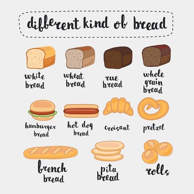 Illustrazione, isolato su bianco. set di cibo dei cartoni animati: pane - pane di segale, pane di grano, pane integrale, baguette francese, croissant e nome in lettere in inglese Vettore Premium