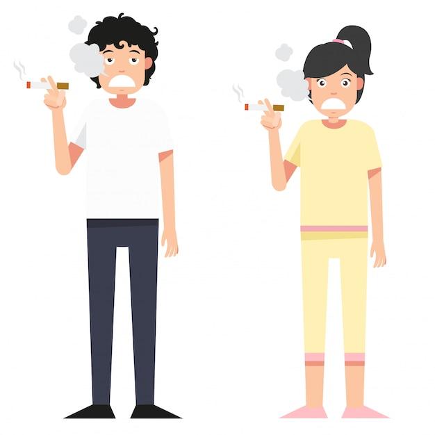 Donna e uomo isolati illustrazione che fumano una sigaretta Vettore Premium