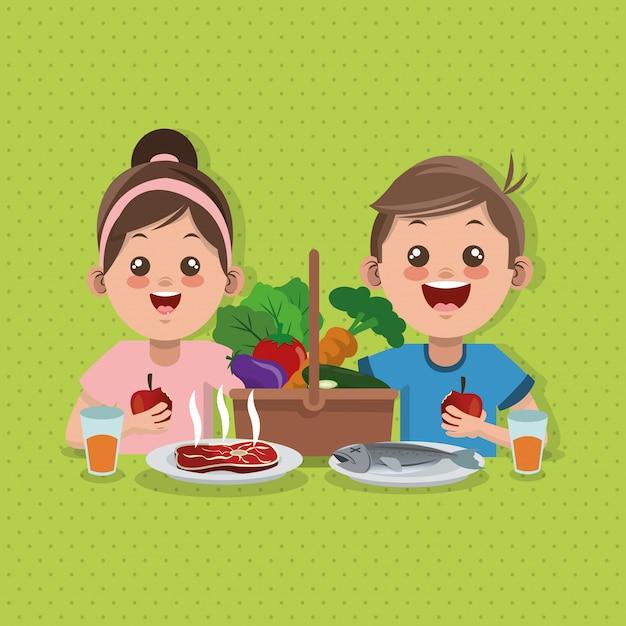 Illustrazione del menu, dell'alimento e della nutrizione dei bambini relativi Vettore Premium