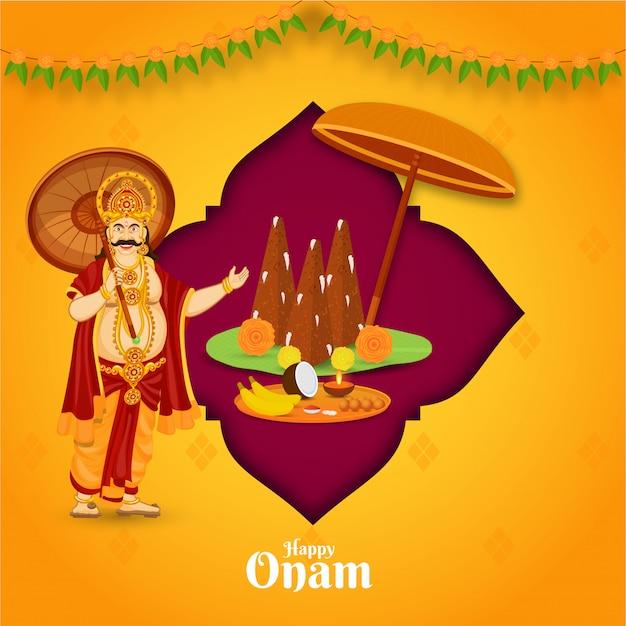 Illustrazione del re mahabali con thrikkakara appan idol e piastra di culto su sfondo rosa e arancione per la celebrazione felice di onam. Vettore Premium