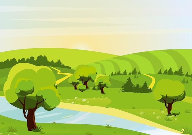Illustrazione del paesaggio con foreste, colline, campi, fiumi e sentieri. vista primaverile o estiva. Vettore Premium