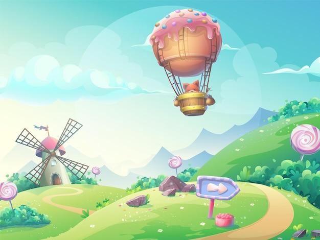 Illustrazione di un paesaggio con mulino di caramelle marmellata e volpe in dirigibile. Vettore Premium