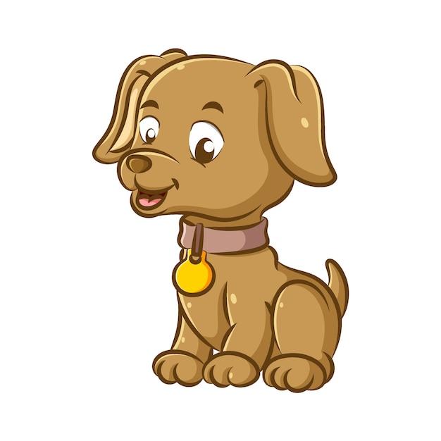 L'illustrazione del cagnolino che usa la collana marrone e il ciondolo dorato è seduta con la faccia felice Vettore Premium