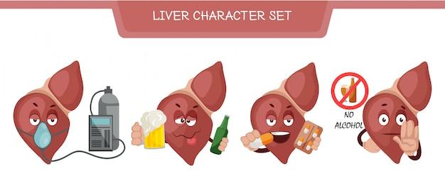 Illustrazione di set di caratteri di fegato Vettore Premium