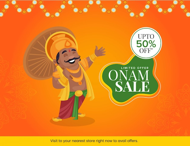 Illustrazione del re mahabali con felice design banner vendita onam Vettore Premium