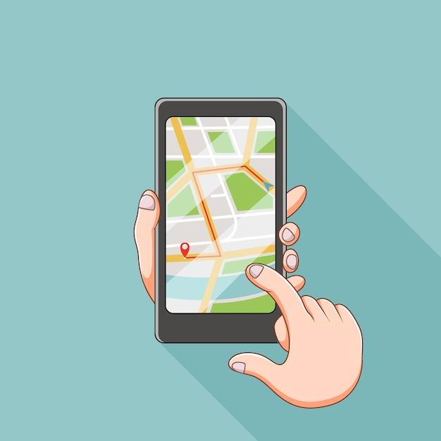 L'illustrazione del sito delle mappe nello smartphone Vettore Premium