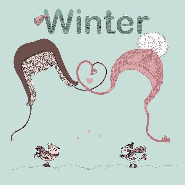 Illustrazione di uomini e donne cappelli, amanti degli uccelli e luogo per il testo. cartolina di san valentino o cartolina di natale. Vettore Premium
