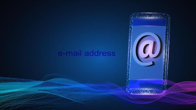 Illustrazione di un telefono cellulare con il simbolo dell'indirizzo di posta elettronica. Vettore Premium