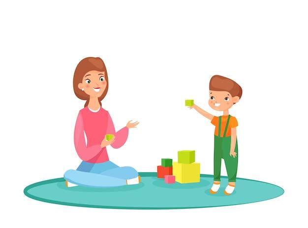 Illustrazione della mamma che gioca blocchi con suo figlio sul tappeto. Vettore Premium