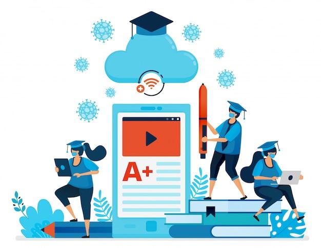 Illustrazione della nuova istruzione e apprendimento normale con app mobili e e-classroom. il design può essere utilizzato per landing page, sito web, app per dispositivi mobili, poster, volantini, banner Vettore Premium