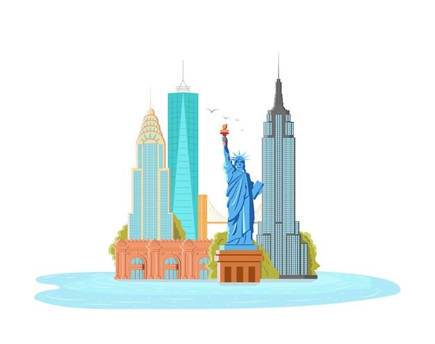 Illustrazione di new york city, paesaggio di edifici e statua della libertà, empire state building, metropolitan museum Vettore Premium