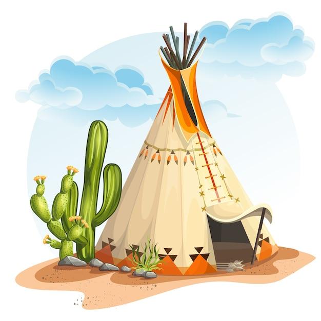 Illustrazione della casa dei tipi indiano nordamericano con cactus e pietre Vettore Premium