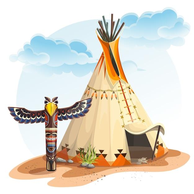 Illustrazione della casa dei tipi indiano nordamericano con il totem Vettore Premium