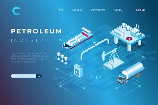 Illustrazione di produzione di petrolio e gas, raffinerie di petrolio e distribuzione del prodotto nell'illustrazione isometrica 3d Vettore Premium