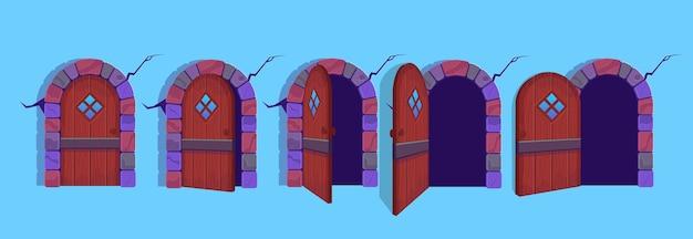 Illustrazione delle porte di halloween aperte e chiuse. Vettore Premium