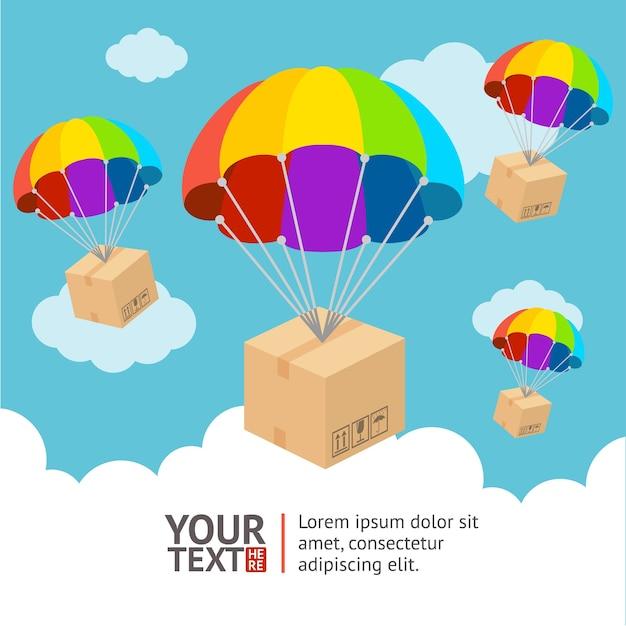Illustrazione. paracadute con invio e carta nuvole Vettore Premium