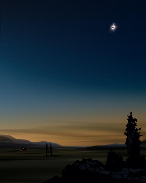 Illustrazione dell'eclissi solare parziale nel cielo al tramonto sullo sfondo del paesaggio Vettore Premium