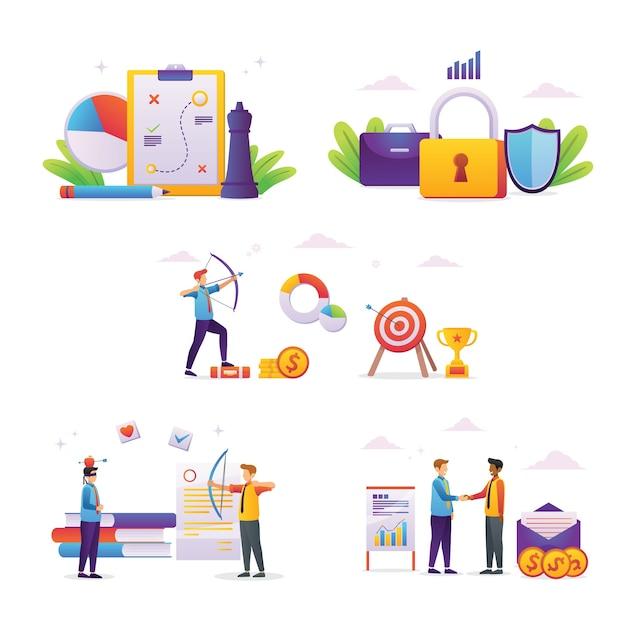 Illustrazione persone concetti aziendali di imprenditori Vettore Premium