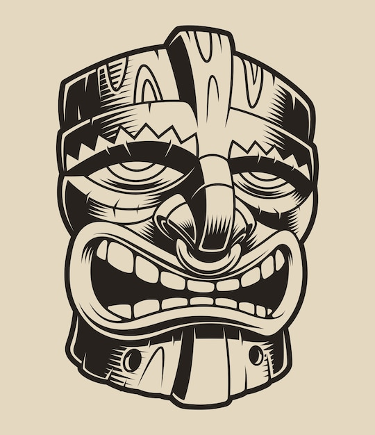 Illustrazione della maschera tiki polianese su uno sfondo bianco. Vettore Premium