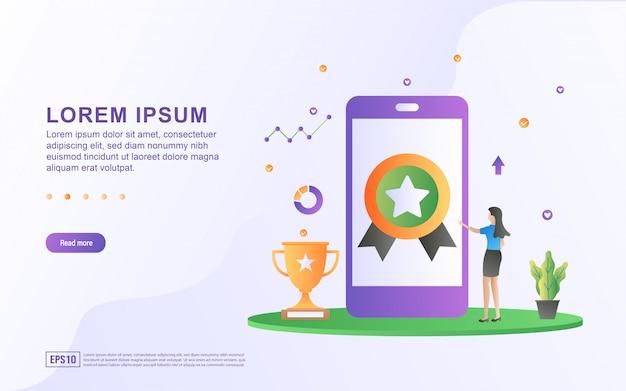 Illustrazione del concetto di qualità. gli uomini d'affari stanno verificando la qualità dei prodotti digitali utilizzando gli smartphone. Vettore Premium