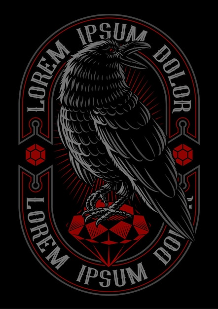 Illustrazione del corvo sul rubino. il testo è nel gruppo separato. Vettore Premium