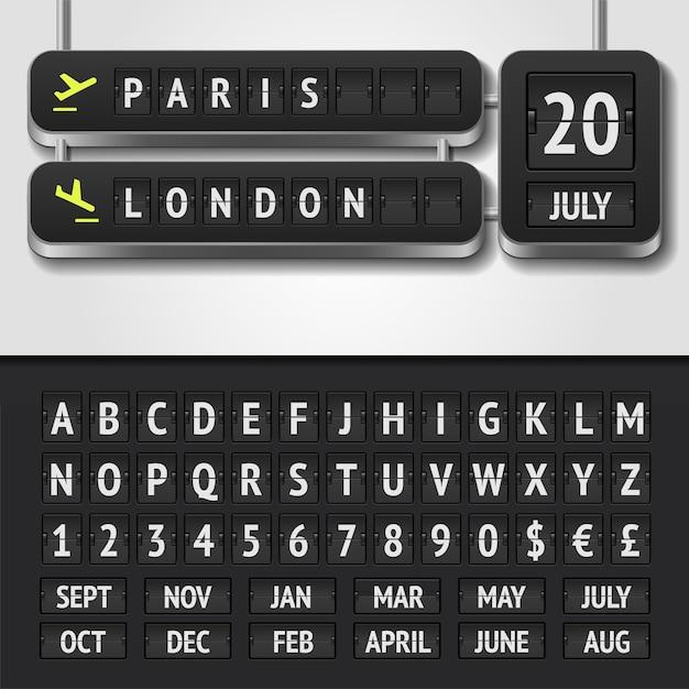 Illustrazione dell'orario realistico dell'aeroporto e dell'alfabeto del tabellone segnapunti Vettore Premium