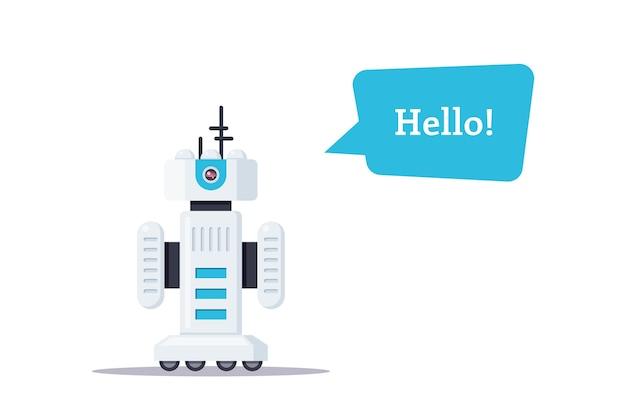 Illustrazione del robot isolato su sfondo bianco. Vettore Premium