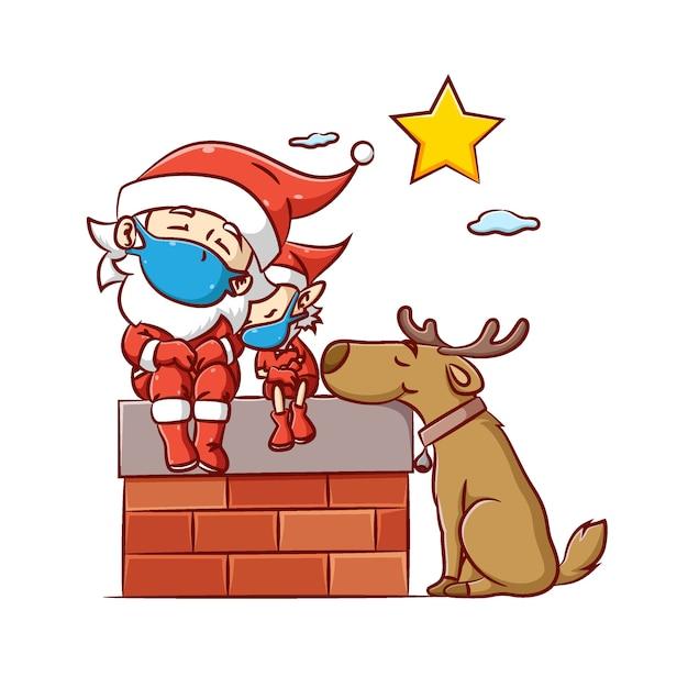 L'illustrazione del babbo natale e dell'elfo con un grosso cane che usa il caro corno dormono sotto la stella luminosa nel cielo Vettore Premium