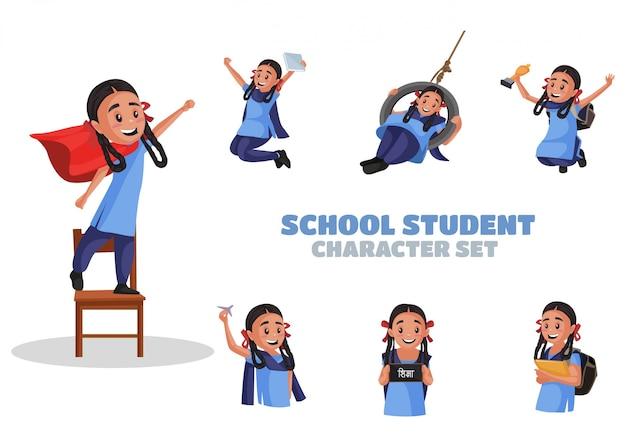 Illustrazione del set di caratteri degli studenti della scuola Vettore Premium