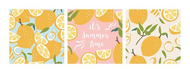 Illustrazione seamless pattern con limoni freschi. carta da parati colorata estiva. collezione di agrumi. Vettore Premium