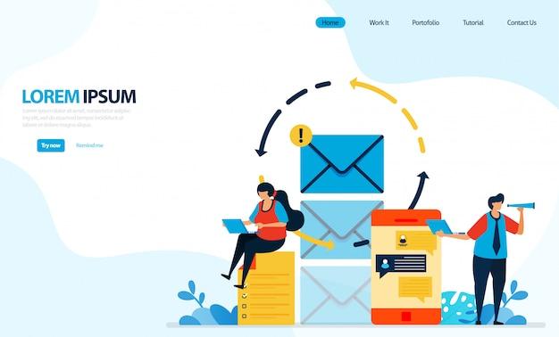 Illustrazione di invio di messaggi istantanei ed e-mail. ricaricare l'invio di messaggi per la sicurezza e il comfort dell'utente. Vettore Premium