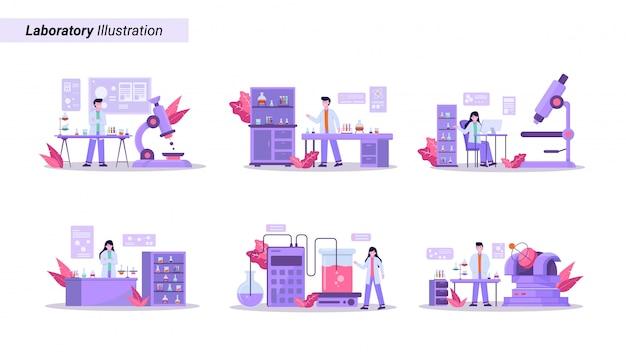 Insieme dell'illustrazione di condurre la ricerca sanitaria in un laboratorio moderno e di qualità Vettore Premium