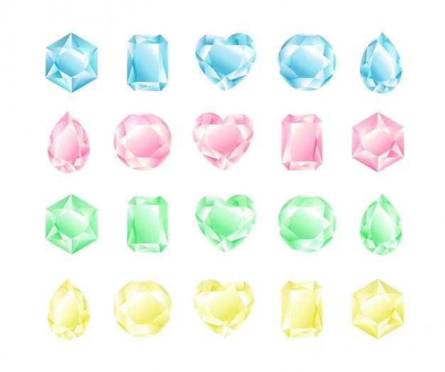 Set di illustrazione di cristalli di diverse forme e colori, collezione di diamanti, colori pastello. Vettore Premium