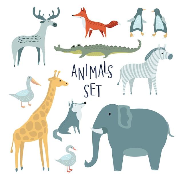 Set di illustrazione di simpatici animali divertenti Vettore Premium