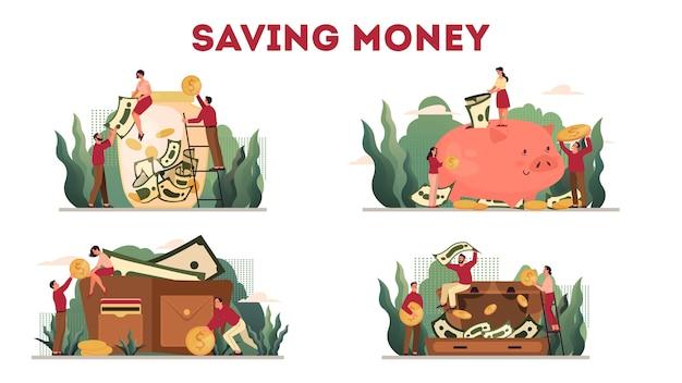 Insieme dell'illustrazione del concetto di protezione dei soldi, conservazione del risparmio. idea di ricchezza economica e finanziaria. risparmio di valuta. caduta della moneta dorata e dollari nel salvadanaio e nel portafoglio. Vettore Premium