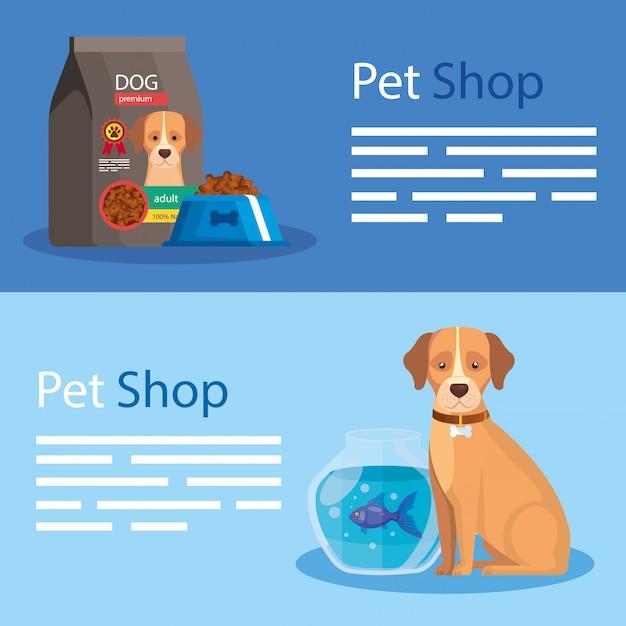 Set di illustrazione del negozio di animali ed elementi Vettore Premium